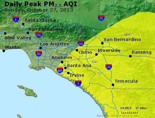 Peak Particles PM<sub>2.5</sub> (24-hour) - http://files.airnowtech.org/airnow/2013/20131027/peak_pm25_losangeles_ca.jpg