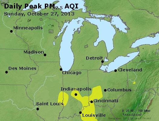 Peak Particles PM<sub>2.5</sub> (24-hour) - http://files.airnowtech.org/airnow/2013/20131027/peak_pm25_mi_in_oh.jpg