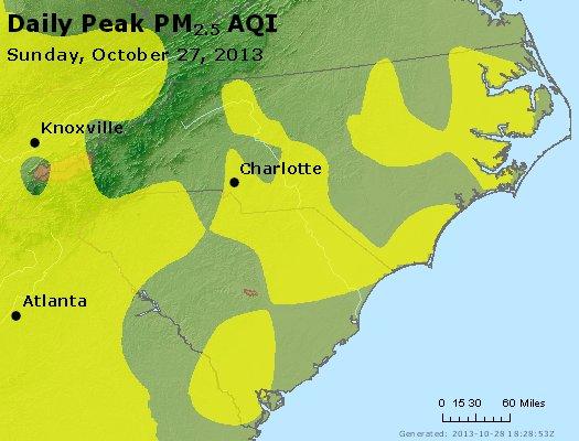 Peak Particles PM<sub>2.5</sub> (24-hour) - http://files.airnowtech.org/airnow/2013/20131027/peak_pm25_nc_sc.jpg