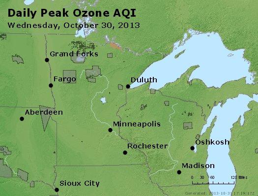 Peak Ozone (8-hour) - http://files.airnowtech.org/airnow/2013/20131030/peak_o3_mn_wi.jpg
