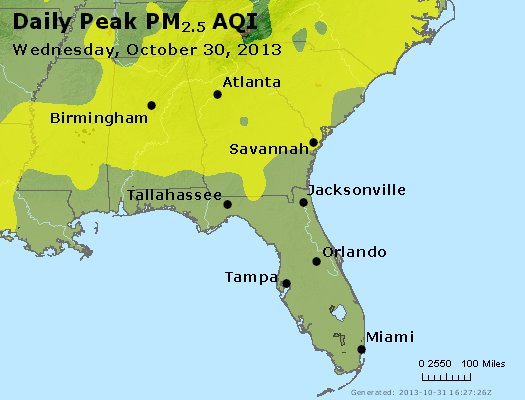 Peak Particles PM<sub>2.5</sub> (24-hour) - http://files.airnowtech.org/airnow/2013/20131030/peak_pm25_al_ga_fl.jpg