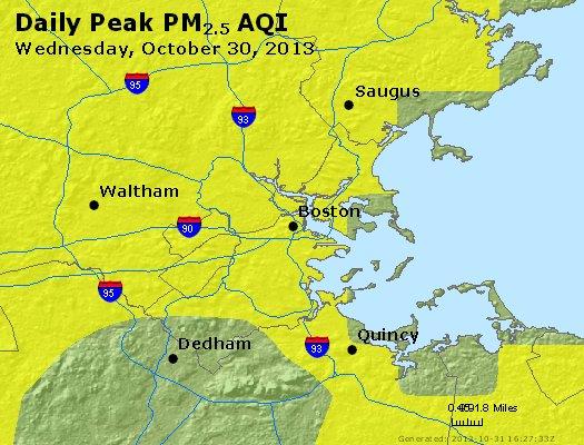 Peak Particles PM<sub>2.5</sub> (24-hour) - http://files.airnowtech.org/airnow/2013/20131030/peak_pm25_boston_ma.jpg