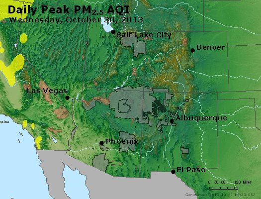 Peak Particles PM<sub>2.5</sub> (24-hour) - http://files.airnowtech.org/airnow/2013/20131030/peak_pm25_co_ut_az_nm.jpg