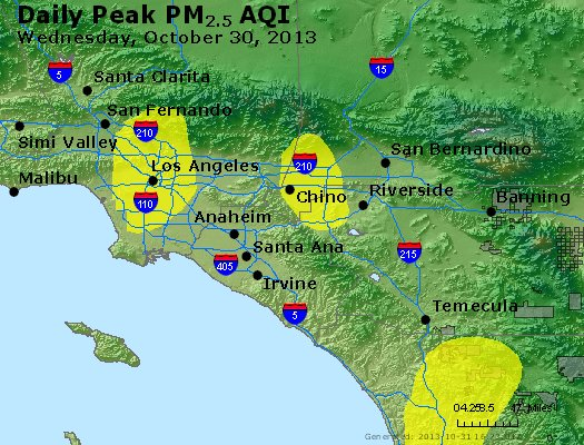 Peak Particles PM<sub>2.5</sub> (24-hour) - http://files.airnowtech.org/airnow/2013/20131030/peak_pm25_losangeles_ca.jpg