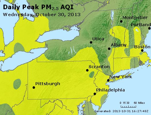 Peak Particles PM<sub>2.5</sub> (24-hour) - http://files.airnowtech.org/airnow/2013/20131030/peak_pm25_ny_pa_nj.jpg