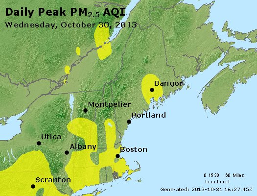 Peak Particles PM<sub>2.5</sub> (24-hour) - http://files.airnowtech.org/airnow/2013/20131030/peak_pm25_vt_nh_ma_ct_ri_me.jpg