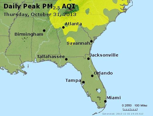 Peak Particles PM<sub>2.5</sub> (24-hour) - http://files.airnowtech.org/airnow/2013/20131031/peak_pm25_al_ga_fl.jpg