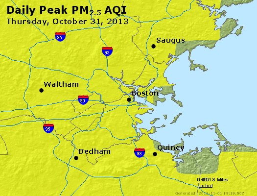Peak Particles PM<sub>2.5</sub> (24-hour) - http://files.airnowtech.org/airnow/2013/20131031/peak_pm25_boston_ma.jpg