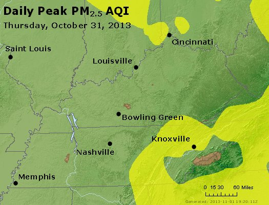 Peak Particles PM<sub>2.5</sub> (24-hour) - http://files.airnowtech.org/airnow/2013/20131031/peak_pm25_ky_tn.jpg