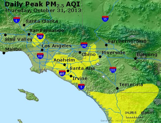 Peak Particles PM<sub>2.5</sub> (24-hour) - http://files.airnowtech.org/airnow/2013/20131031/peak_pm25_losangeles_ca.jpg