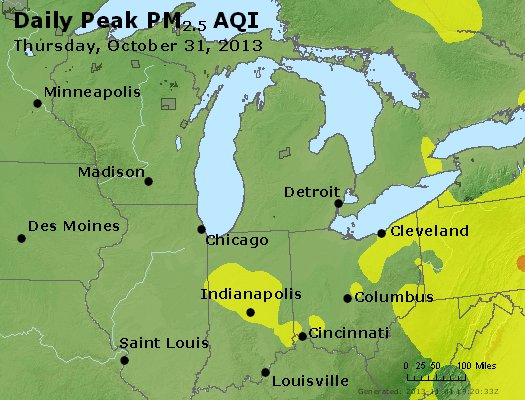 Peak Particles PM<sub>2.5</sub> (24-hour) - http://files.airnowtech.org/airnow/2013/20131031/peak_pm25_mi_in_oh.jpg