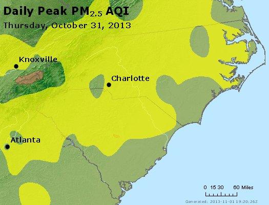 Peak Particles PM<sub>2.5</sub> (24-hour) - http://files.airnowtech.org/airnow/2013/20131031/peak_pm25_nc_sc.jpg