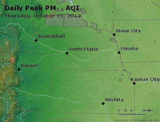 Peak Particles PM<sub>2.5</sub> (24-hour) - http://files.airnowtech.org/airnow/2013/20131031/peak_pm25_ne_ks.jpg