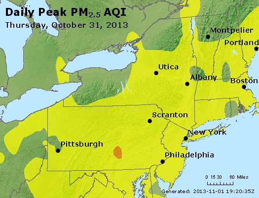 Peak Particles PM<sub>2.5</sub> (24-hour) - http://files.airnowtech.org/airnow/2013/20131031/peak_pm25_ny_pa_nj.jpg