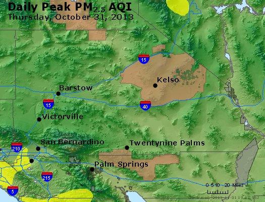 Peak Particles PM<sub>2.5</sub> (24-hour) - http://files.airnowtech.org/airnow/2013/20131031/peak_pm25_sanbernardino_ca.jpg