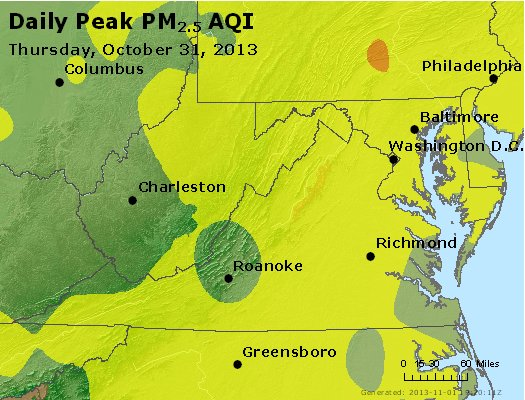 Peak Particles PM<sub>2.5</sub> (24-hour) - http://files.airnowtech.org/airnow/2013/20131031/peak_pm25_va_wv_md_de_dc.jpg