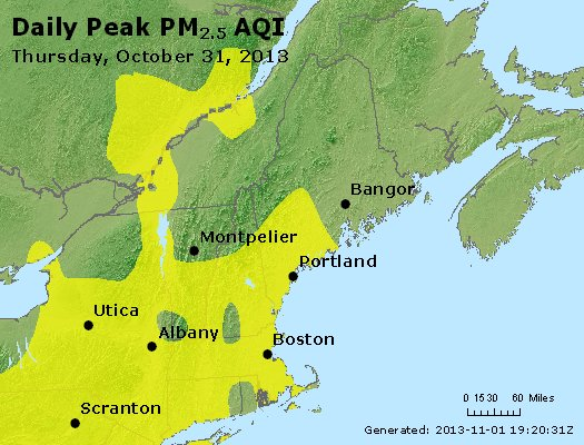 Peak Particles PM<sub>2.5</sub> (24-hour) - http://files.airnowtech.org/airnow/2013/20131031/peak_pm25_vt_nh_ma_ct_ri_me.jpg
