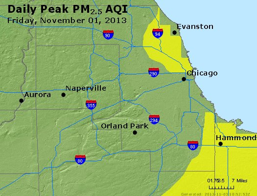 Peak Particles PM<sub>2.5</sub> (24-hour) - http://files.airnowtech.org/airnow/2013/20131102/peak_pm25_chicago_il.jpg