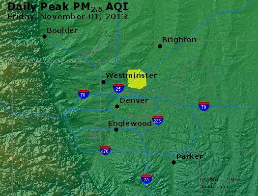 Peak Particles PM<sub>2.5</sub> (24-hour) - http://files.airnowtech.org/airnow/2013/20131102/peak_pm25_denver_co.jpg