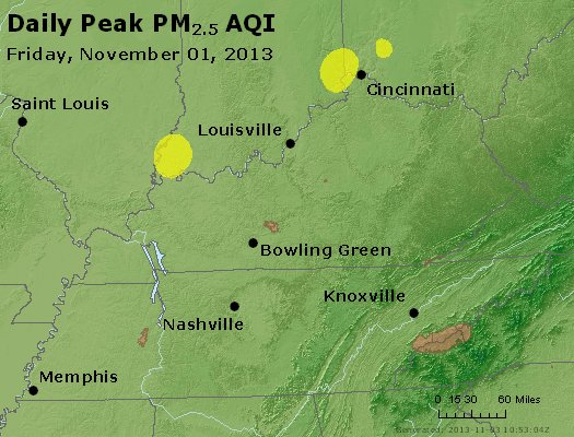 Peak Particles PM<sub>2.5</sub> (24-hour) - http://files.airnowtech.org/airnow/2013/20131102/peak_pm25_ky_tn.jpg