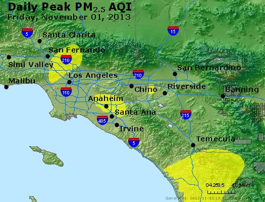 Peak Particles PM<sub>2.5</sub> (24-hour) - http://files.airnowtech.org/airnow/2013/20131102/peak_pm25_losangeles_ca.jpg