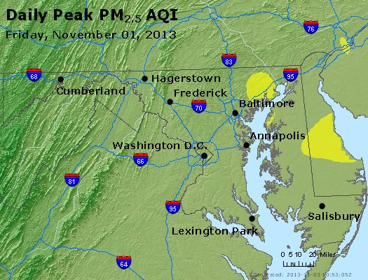 Peak Particles PM<sub>2.5</sub> (24-hour) - http://files.airnowtech.org/airnow/2013/20131102/peak_pm25_maryland.jpg