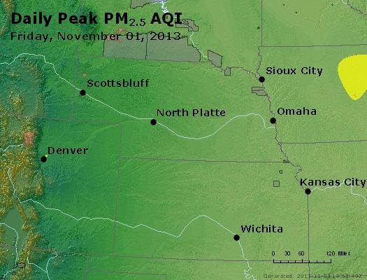 Peak Particles PM<sub>2.5</sub> (24-hour) - http://files.airnowtech.org/airnow/2013/20131102/peak_pm25_ne_ks.jpg