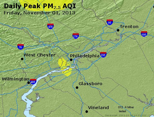 Peak Particles PM<sub>2.5</sub> (24-hour) - http://files.airnowtech.org/airnow/2013/20131102/peak_pm25_philadelphia_pa.jpg