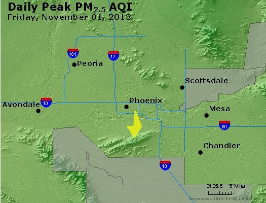Peak Particles PM<sub>2.5</sub> (24-hour) - http://files.airnowtech.org/airnow/2013/20131102/peak_pm25_phoenix_az.jpg