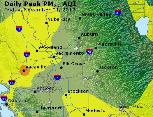 Peak Particles PM<sub>2.5</sub> (24-hour) - http://files.airnowtech.org/airnow/2013/20131102/peak_pm25_sacramento_ca.jpg