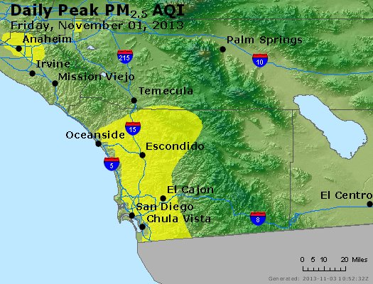 Peak Particles PM<sub>2.5</sub> (24-hour) - http://files.airnowtech.org/airnow/2013/20131102/peak_pm25_sandiego_ca.jpg