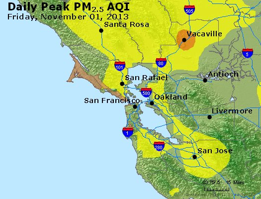 Peak Particles PM<sub>2.5</sub> (24-hour) - http://files.airnowtech.org/airnow/2013/20131102/peak_pm25_sanfrancisco_ca.jpg