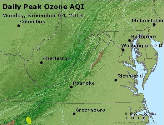 Peak Ozone (8-hour) - http://files.airnowtech.org/airnow/2013/20131104/peak_o3_va_wv_md_de_dc.jpg