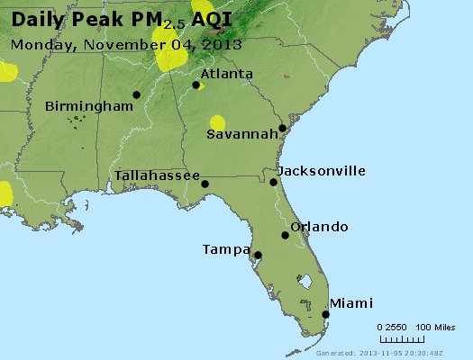 Peak Particles PM<sub>2.5</sub> (24-hour) - http://files.airnowtech.org/airnow/2013/20131104/peak_pm25_al_ga_fl.jpg