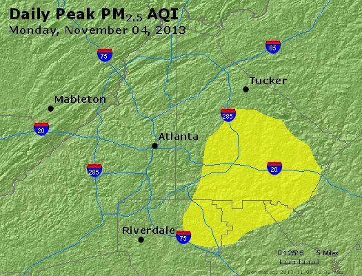 Peak Particles PM<sub>2.5</sub> (24-hour) - http://files.airnowtech.org/airnow/2013/20131104/peak_pm25_atlanta_ga.jpg