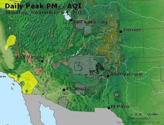 Peak Particles PM<sub>2.5</sub> (24-hour) - http://files.airnowtech.org/airnow/2013/20131104/peak_pm25_co_ut_az_nm.jpg