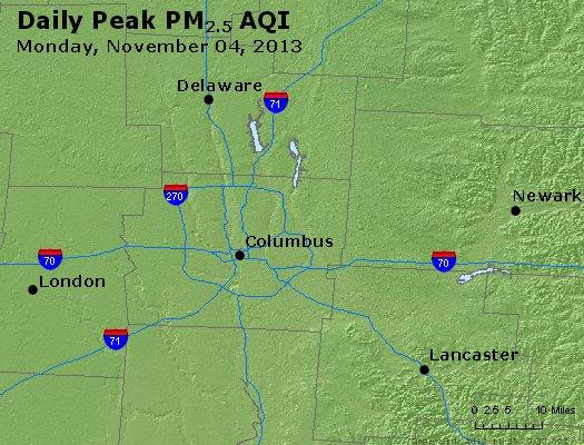 Peak Particles PM<sub>2.5</sub> (24-hour) - http://files.airnowtech.org/airnow/2013/20131104/peak_pm25_columbus_oh.jpg