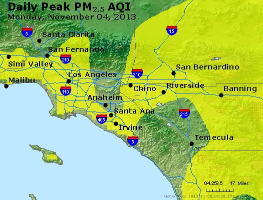 Peak Particles PM<sub>2.5</sub> (24-hour) - http://files.airnowtech.org/airnow/2013/20131104/peak_pm25_losangeles_ca.jpg