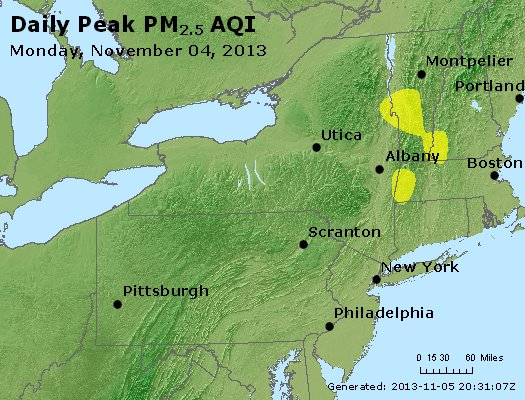 Peak Particles PM<sub>2.5</sub> (24-hour) - http://files.airnowtech.org/airnow/2013/20131104/peak_pm25_ny_pa_nj.jpg