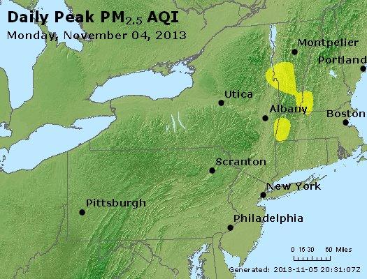 Peak Particles PM<sub>2.5</sub> (24-hour) - http://files.airnowtech.org/airnow/2013/20131104/peak_pm25_ny_pa_nj.jpg