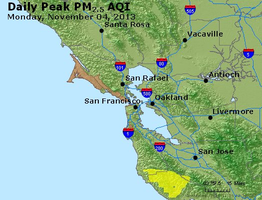 Peak Particles PM<sub>2.5</sub> (24-hour) - http://files.airnowtech.org/airnow/2013/20131104/peak_pm25_sanfrancisco_ca.jpg