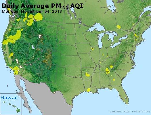 Peak Particles PM<sub>2.5</sub> (24-hour) - http://files.airnowtech.org/airnow/2013/20131104/peak_pm25_usa.jpg