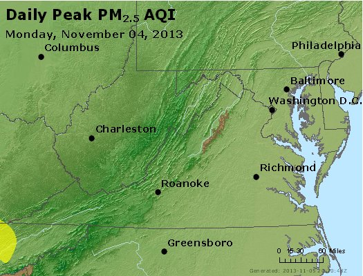 Peak Particles PM<sub>2.5</sub> (24-hour) - http://files.airnowtech.org/airnow/2013/20131104/peak_pm25_va_wv_md_de_dc.jpg