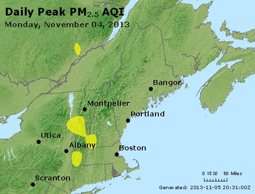 Peak Particles PM<sub>2.5</sub> (24-hour) - http://files.airnowtech.org/airnow/2013/20131104/peak_pm25_vt_nh_ma_ct_ri_me.jpg