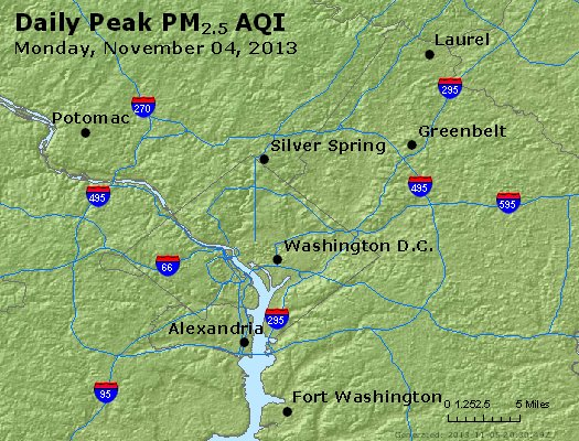 Peak Particles PM<sub>2.5</sub> (24-hour) - http://files.airnowtech.org/airnow/2013/20131104/peak_pm25_washington_dc.jpg