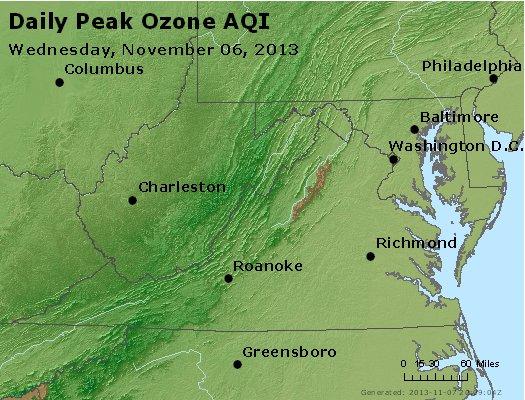 Peak Ozone (8-hour) - http://files.airnowtech.org/airnow/2013/20131106/peak_o3_va_wv_md_de_dc.jpg