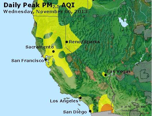Peak Particles PM<sub>2.5</sub> (24-hour) - http://files.airnowtech.org/airnow/2013/20131106/peak_pm25_ca_nv.jpg
