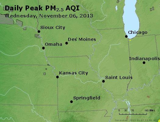 Peak Particles PM<sub>2.5</sub> (24-hour) - http://files.airnowtech.org/airnow/2013/20131106/peak_pm25_ia_il_mo.jpg