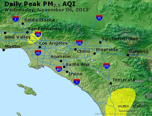 Peak Particles PM<sub>2.5</sub> (24-hour) - http://files.airnowtech.org/airnow/2013/20131106/peak_pm25_losangeles_ca.jpg
