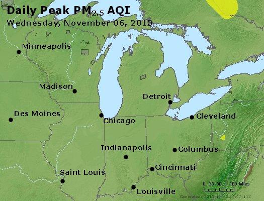 Peak Particles PM<sub>2.5</sub> (24-hour) - http://files.airnowtech.org/airnow/2013/20131106/peak_pm25_mi_in_oh.jpg